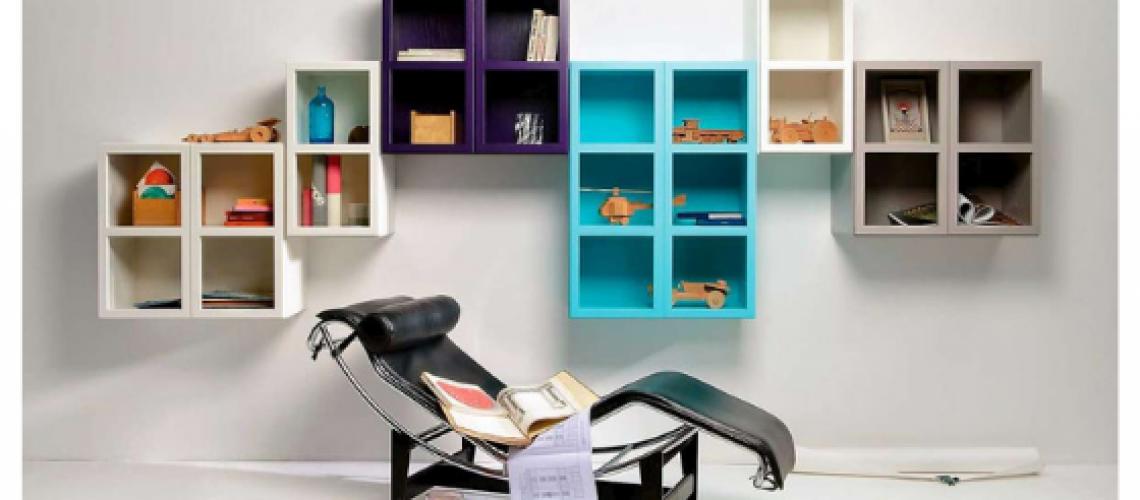 Libreria Book palette azzurra, Arredamenti Boagno Savona
