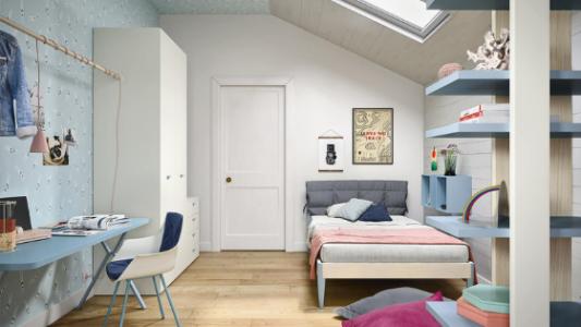 Immagine camera per ragazzi di Battistella con ampio spazio per lo studio Arredamenti Boagno Savona