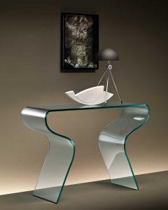 Charlotte tavolino in vetro curvato
